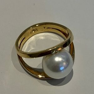 Faux Pearl Pebble Ring - Size 7.5